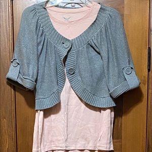 Grey shrug and pink long sleeve top size medium.